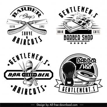 barber shop logotype black white classical design