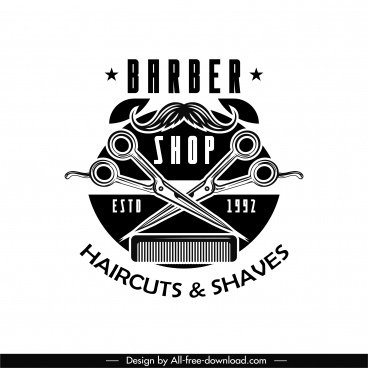 barber shop logotype black white flat retro symbols