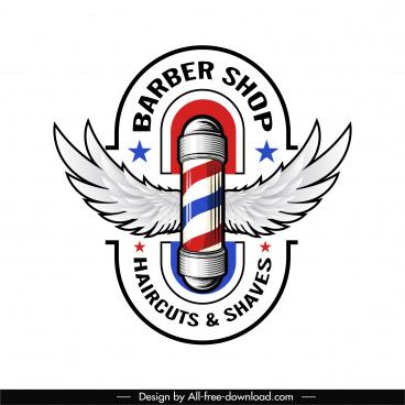 barber shop logotype modern shiny design wings decor