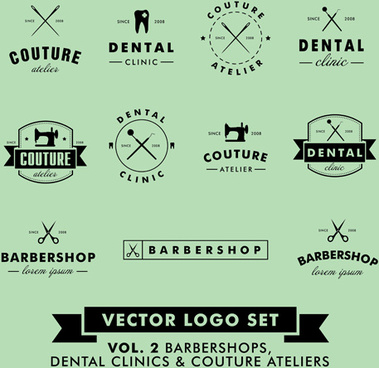 barbershop with couture and dental vector logos