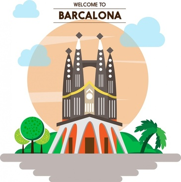 barcalona promotion banner famous scenery design