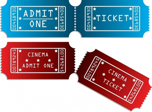 ticket templates horizontal red blue decor