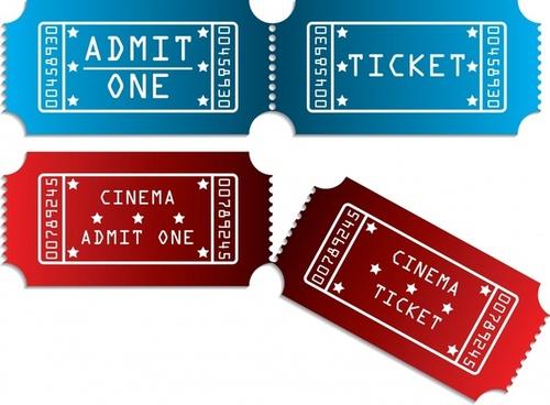 ticket templates horizontal red blue decor