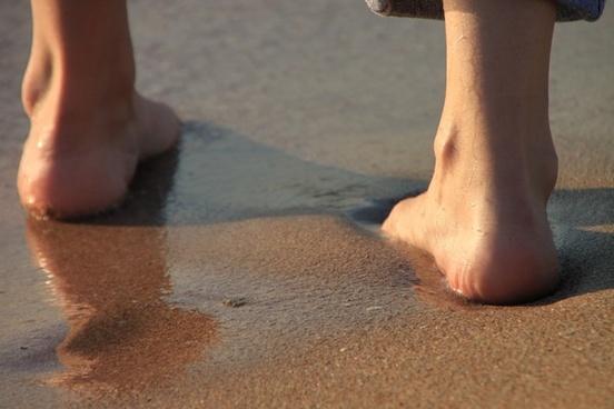 barefoot beach girl