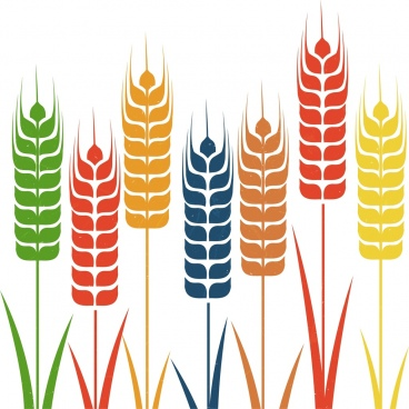 barley background colorful flat icons decoration