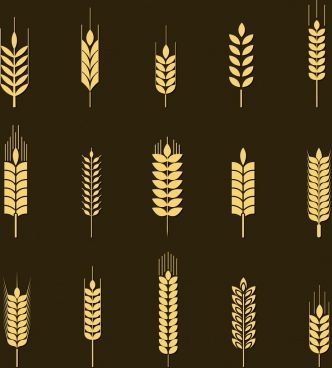 barley background yellow icons isolation