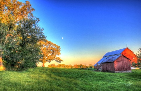 barn and landscape at charles mound illinois