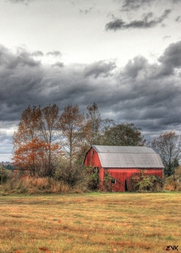 barn red clouds