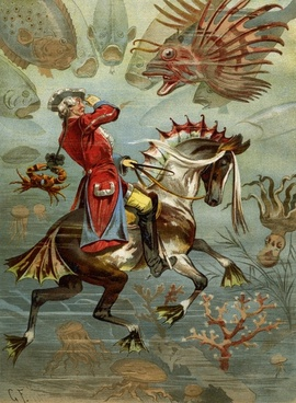 baron munchausen he rode on the seahorse tall tales