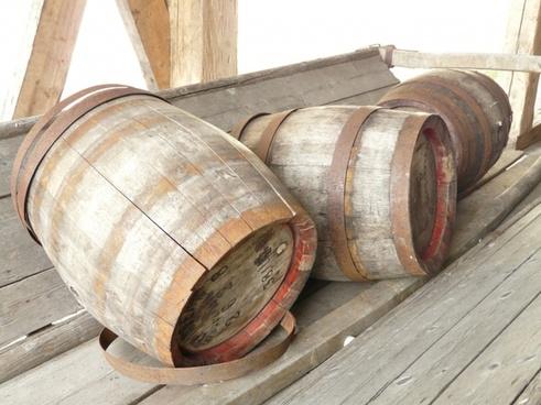 barrels wooden barrels wood