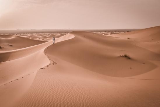 lonely human walking on large desert