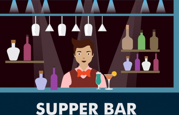 bartender icon bright colored bar decoration