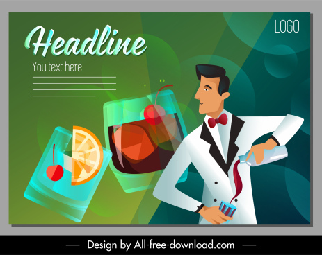 bartender job banner cocktail sketch cartoon design