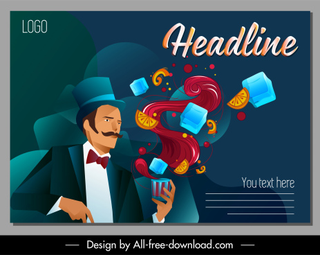 bartender poster dynamic cartoon design elegant man sketch
