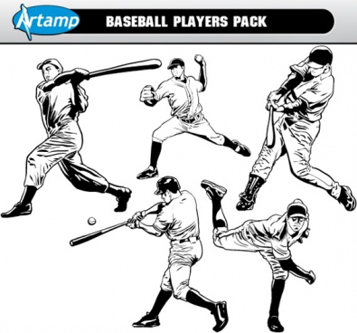 base ball players vector pack free cdr vecto