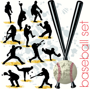 baseball silhouettes vector set