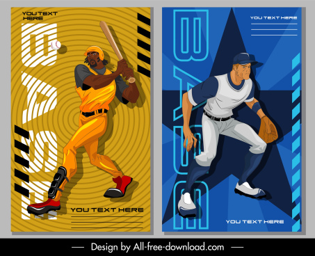 baseball sports banners player sketch dynamic cartoon design
