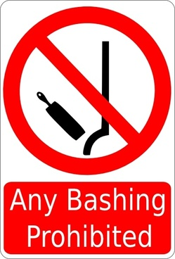 Bashing Prohibited Sign clip art