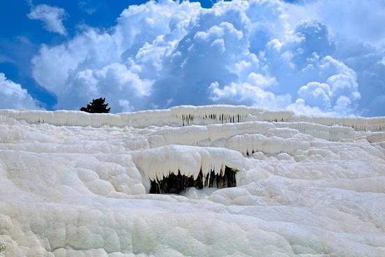 basin calcium cloud crystal deposit frozen heat ice