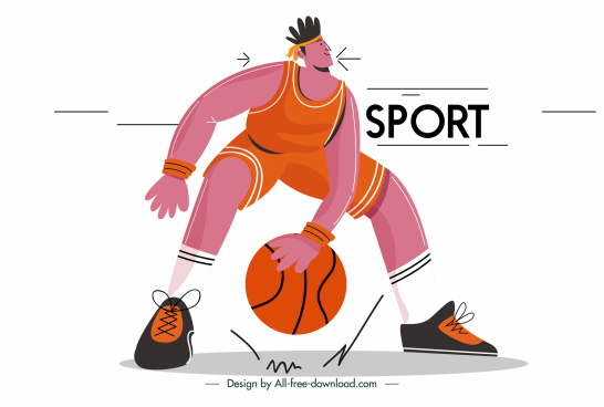 basket ball player icon cartoon character sketch