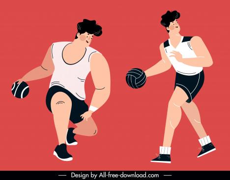 basket ball sport icons dynamic man sketch