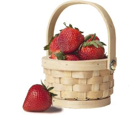 basket strawberries straw