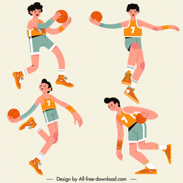 basketball athletes icons cartoon characters motion sketch