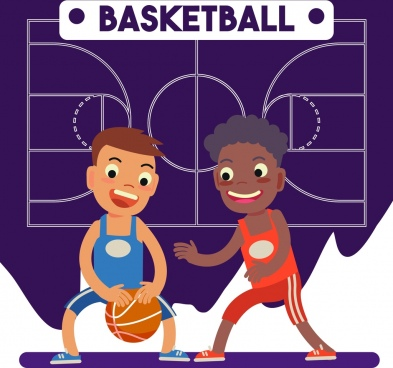 basketball background playful boys icons ground backdrop
