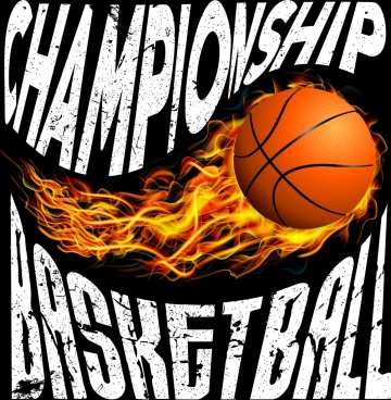basketball championship banner ball fire icon texts decor