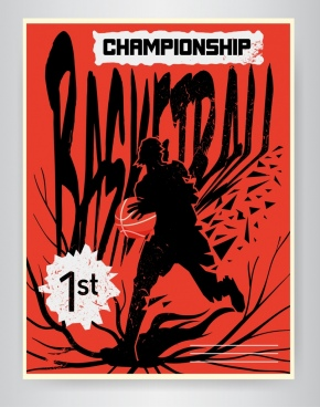 basketball championship banner red silhouette decor