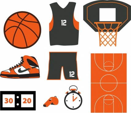 basketball design elements various colored objects