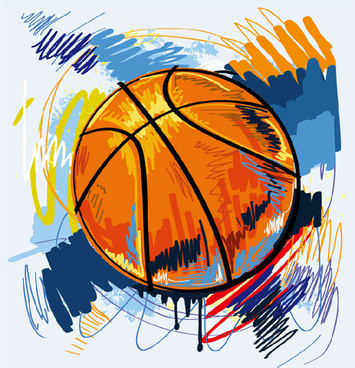 basketball graffiti vector