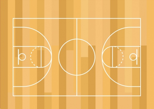 basketball ground decor flat layout sketch