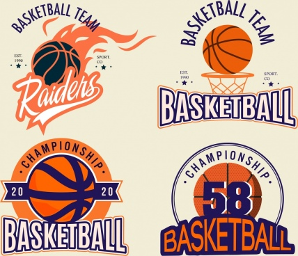 basketball logotypes ball fire calligraphic decor
