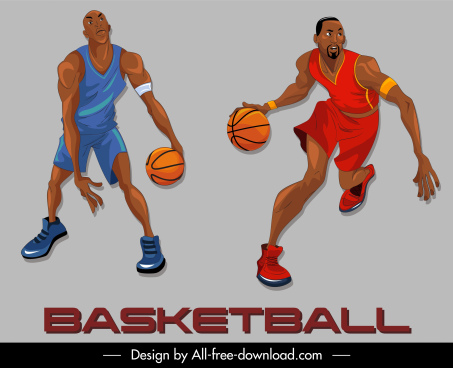 basketball player icons cartoon characters dynamic design