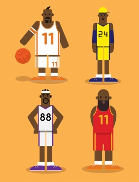 basketball player icons funny cartoon characters