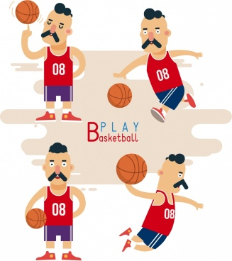 basketball player icons funny male characters