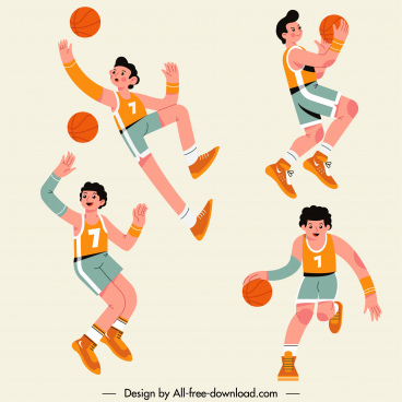 basketball players icons motion sketch cartoon characters