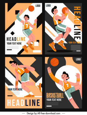 basketball poster templates dynamic design cartoon character