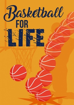 basketball promotion banner moving ball icons powerful design
