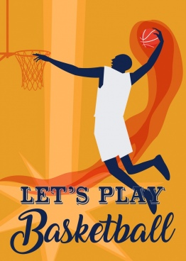 basketball promotion banner powerful player silhouette design