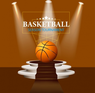 basketball tournament advertisement ball lights decor 3d design