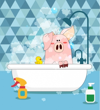 bathing pig background stylized icon cartoon design