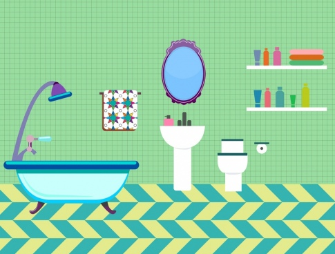 Bathroom Arrangement Colored Furniture Icons Sketch