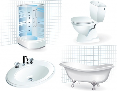 bathroom supplies icons modern 3d sketch