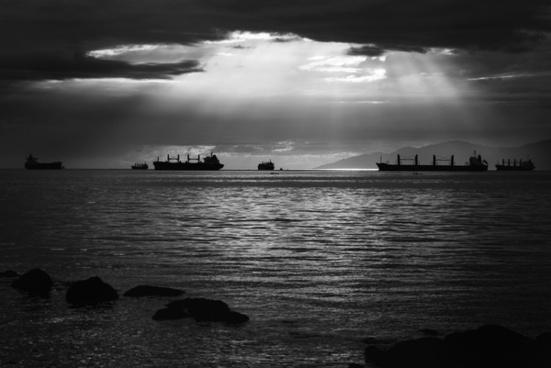 bay beach black and white boat coast contrast dock