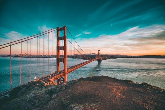 bay beach bridge coast dusk evening nobody ocean