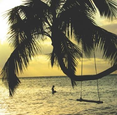 bay beach coast exotic hammock idyllic island