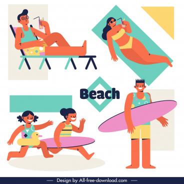 beach activities icons colored cartoon characters sketch