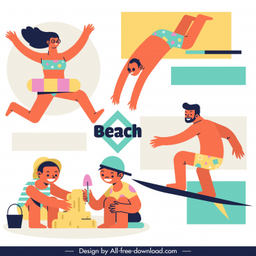 beach activities icons joyful people sketch cartoon characters